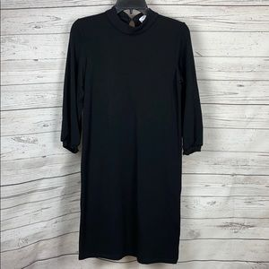 AMOUR VERT Mock Neck Bishop Sleeve Shift Dress S